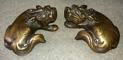 Excellent Quality Pair Of Antique Bronze Chinese Scroll Weights Qilin Kylin.