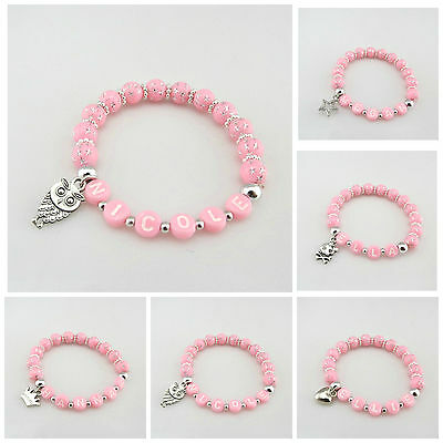 Kids 8Mm Pink Silver Star Acrylic Beads Stretch Named Bracelet With Charm Design