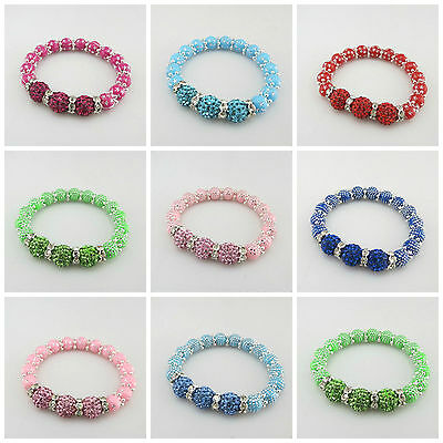 New Kids 8Mm Silver Dot/Star Acrylic Beads Stretch Bracelets