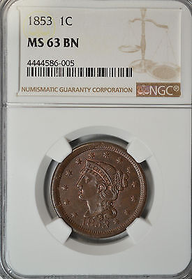 1853 Braided Hair large cent, NGC MS63 BN