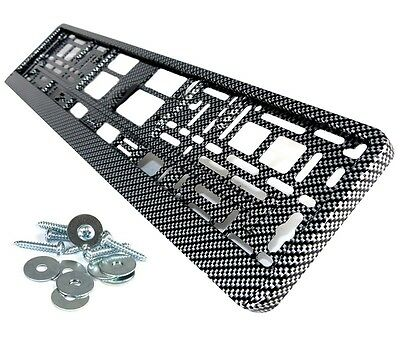 2 x License plate holder Carbon 3D Looks NEW Surrounds vehicle mount