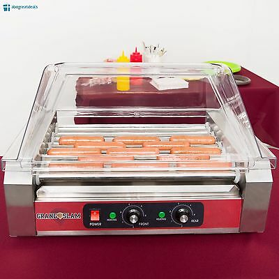 24 Hotdog 9 Roller Commercial Hot Dog Grill Cooker Machine with Guard Cover