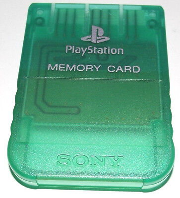 Genuine Sony Playstation 1 Memory Card 1MB Clear Green PS1 Original