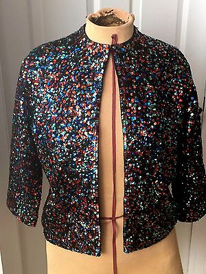 Vtg MULTI-COLORED Beaded WOMENS Cardigan Sweater EXCLUSIVE DESIGN FOR I. Magnin