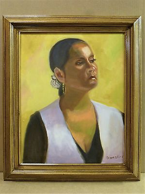 Stately Latina Woman Oil Portrait Painting by Robie Troestler 16X20 Art Framed