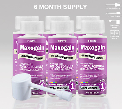 Womans Maxogain 4in1 Minoxidil Topical 6x60mL 2% Active Nutrient + Inhibitor