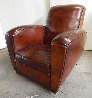 Original 1930's French Art deco Leather Club Chair, Vintage, Antique