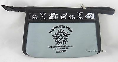 New Supernatural Winchester Brothers Family Biz Cosmetic Make-Up Tote Bag Purse