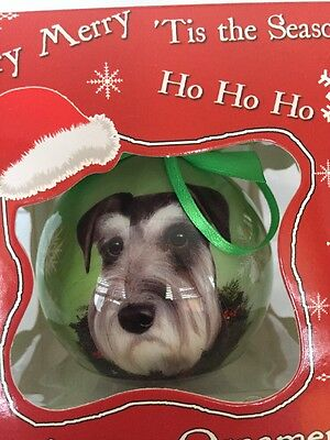 Schnauzer Dog Uncropped Ball Christmas Ornament New