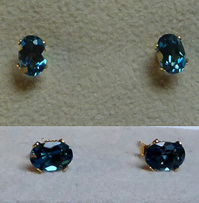 Belles boucles d'oreille TOPAZE London blue pierres naturelles OR massif 14 cts