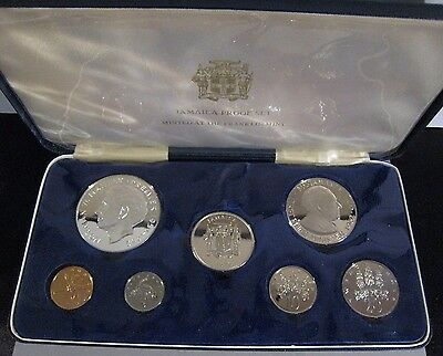 1972 Jamaica 7 Piece Coin Proof Set  with Case       ** FREE U.S SHIPPING **