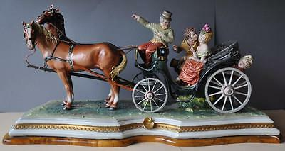 Rare Large Capodimonte Italian Porcelain Figural Group The Carriage by B. Merli
