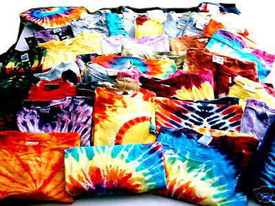 WHOLESALE LOT OF 100 Hand-dyed TIE-DYE T-SHIRTS Sizes S TO 2X