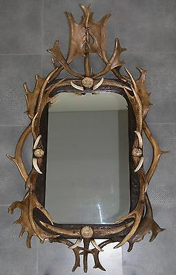 Antique Black Forest Mirror Mounted W. Antler & Roses