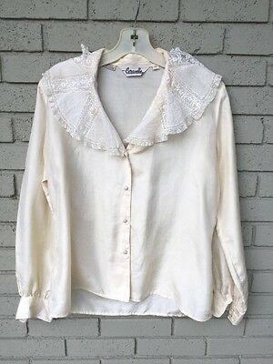 Vintage 80s silk lace Embroider CARAVELLE Victorian Look button front blouse L