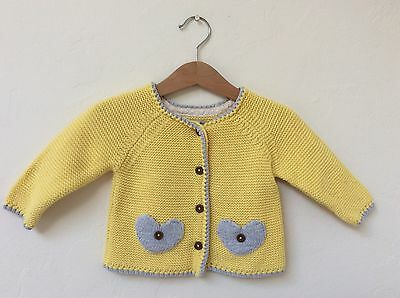 Next Baby Girls Yellow Grey Knitted Cardigan, 9-12 Months, Heart Pockets