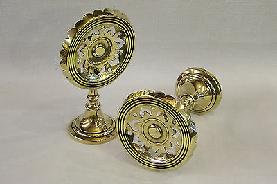 Rare Pair Of Antique Miniature Brass Two Position Candle Reflector Trivet C1890.