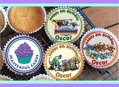 24 Personalised Skylander  Cupcake Topper Rice, Wafer, Icing Or Precut Wafer