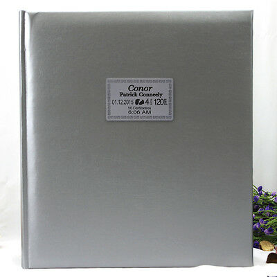 Baby Birth Details Photo Album - Silver -500 - Add a Name & Message