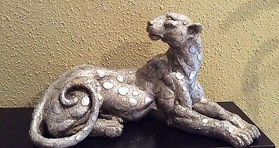 Silver Color Leopard wildcat Resin Statue Resting Pose