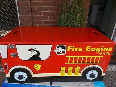 1990s VINTAGE KIDS WOOD/WOODEN RED FIRE ENGINE TRUCK TOY BOX SIT IN SIREN SOUNDS
