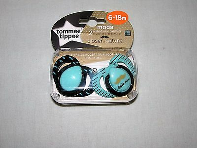 Tommee Tippee Boys' (2) Moda Orthodontic Pacifiers New/Ages:  6-18 Months