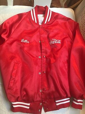 VINTAGE EMBROIDERED AUBURN SPORTSWEAR COCA-COLA RED  NYLON LINED JACKET 80s SZ M