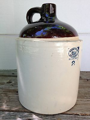 Vintage Love-Field Potteries Dallas Texas 2 Gallon Stoneware Jug Crock