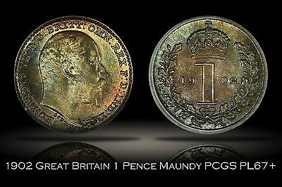 1902 Great Britain Maundy 1 Pence PCGS MS67+ 1D Attractive Colorful Toning Plus