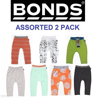 2 x NEW BONDS ASSORTED BABY LEGGINGS Boys Girls Pants Clothing Stretchies Basics