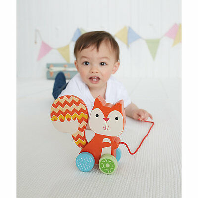New ELC Boys and Girls Wooden Pull Along Squirrel Toy From 12 months
