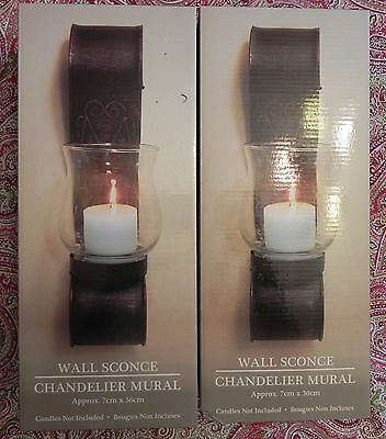 Lovely Pair of Metal Hurricane Candle Holder Wall Sconces - In  Antique Bronze
