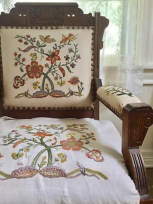 antique east lake arm chair carved walnut crewel embroidered linen chinoiserie