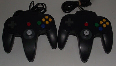 2 x Genuine Nintendo 64 N64 Charcoal Controller Refurbed Toggle A Grade