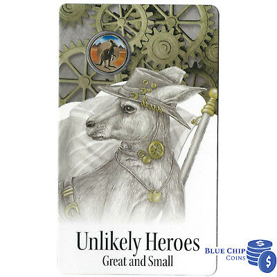 2015 Unc $1 Unlikely Heroes Great & Small Shake The Kangaroo Al/Br Coin On Card