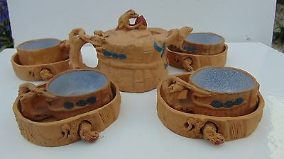 Marked Chinese  Yixing Teapot Handmade 4 X Teacups Saucers - Boxed