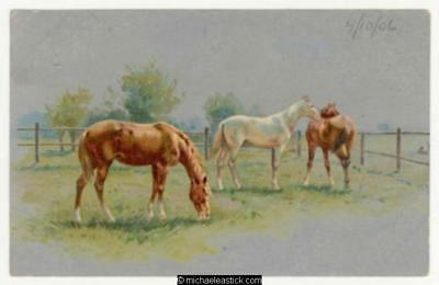 Horses, silver background
