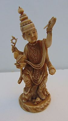 ANTIQUE 18th CENTURY BURMESE CHINESE BOVINE BONE VISHNU DEITY FIGURE