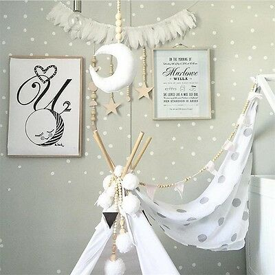 Decoration Props Moon&Wooden Bead Baby Bed Hanging Pendant DIY Decor Baby's Room
