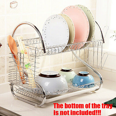 2 Layers Chrome-Plated Steel Dish Drying Rack Tray Cutlery Caddy Organizer ZZ