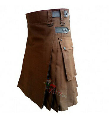 Chocolate Brown Leather Straps Utility Kilt