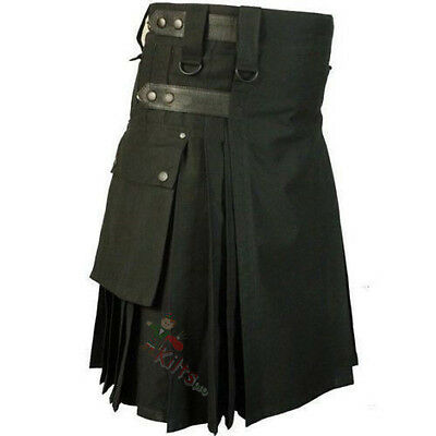 "Men's Black Leather Straps Utility Kilt 30"" To 50"" UK Seller"