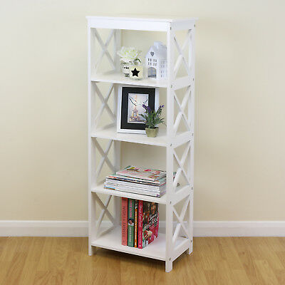 White 5 Tier Free Standing Home Bookcase Storage/Display Bathroom Unit Shelves