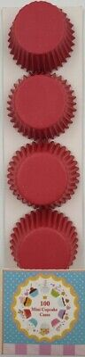 100  mini cupcake cases baking muffin cake petits fours red