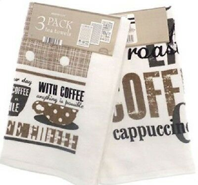 3 Pack Velour 100% Cotton Tea Towel Kitchen Dish With Coffee