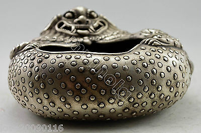 Collectible Decorated Old Handwork Silver Plate Copper Carve Dragon Inkwell