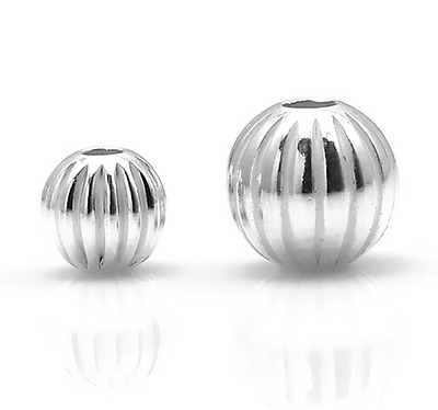 925 Sterling Silver Round Ribbed Fluted Corrugated Spacer Beads Jewellery Making