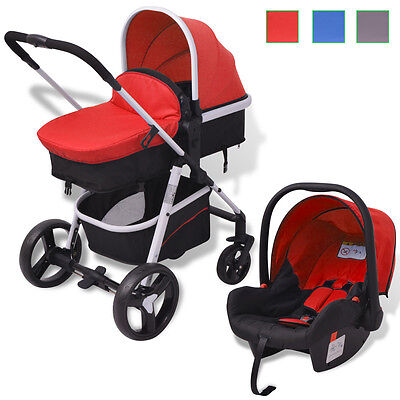 3-in-1 Pushchair Stroller Buggy Baby Toddler Child Aluminium Red/Blue/Grey+Black