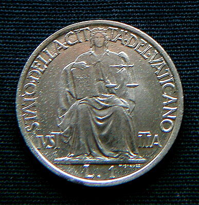 1942 VATICAN Italy  coin 1 lira UNC HIGH QUALITY Pius XII