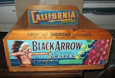 Vintage Wood Wooden Box Black Arrow Grapes Fruit Crate with 2 Labels California